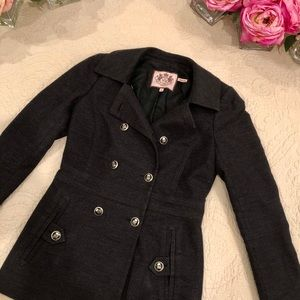 Juicy Couture Classic Charcoal Gray Pea Coat